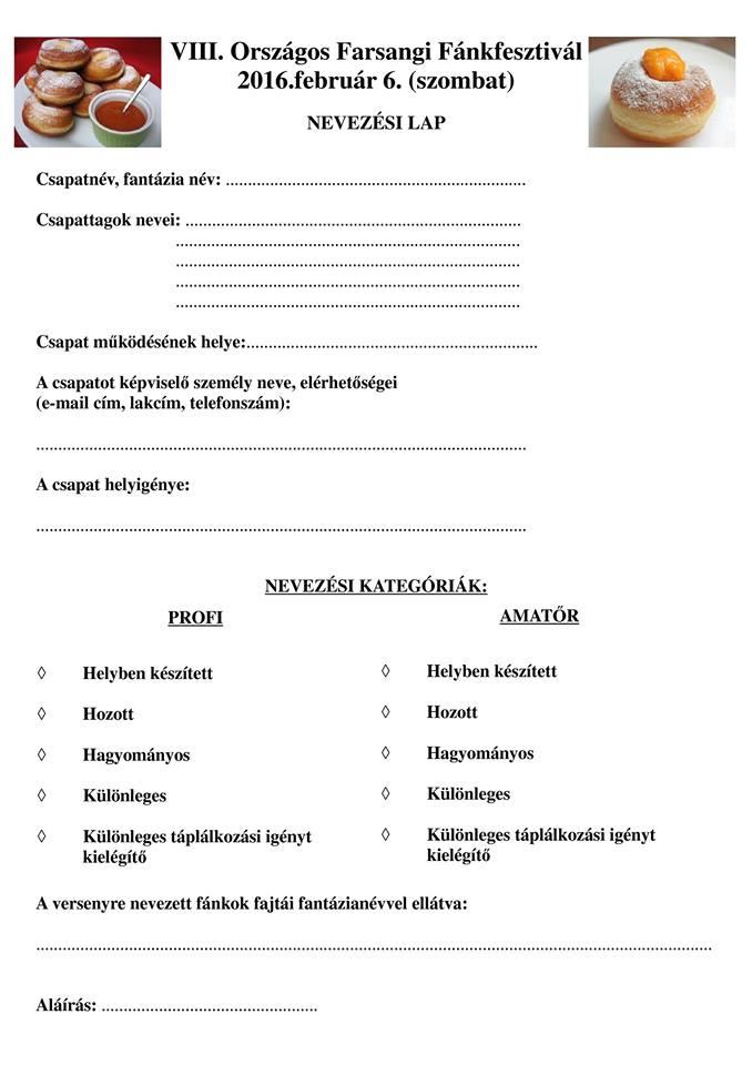 nagykanizsa fánkfesztivál jelentkezési lap