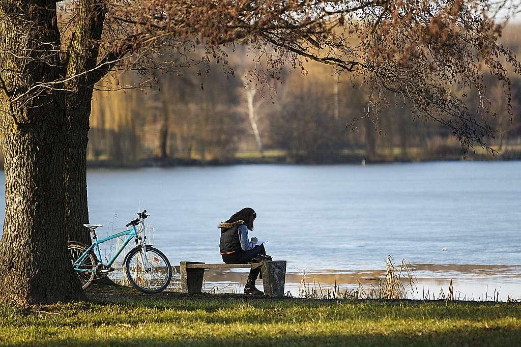 Nagykanizsa, 2016. január 28. Egy lány tanul a padon a nagykanizsai Csónakázó-tónál 2016. január 28-án. Kora délután 15 Celsius-fok volt a levegõ hõmérséklete. MTI Fotó: Varga György