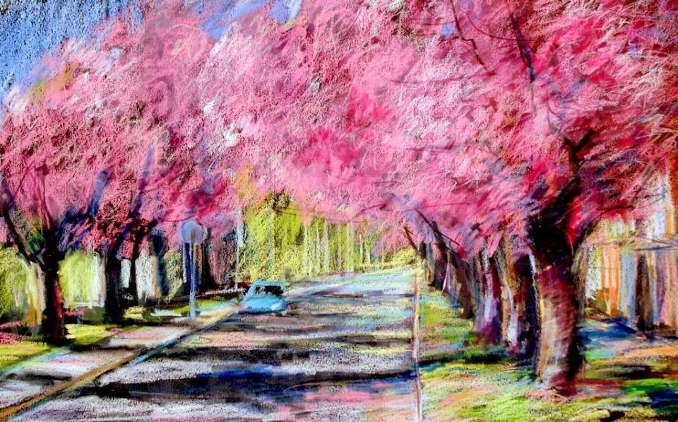 nagykanizsa japán cseresznye tavasz utca festmény