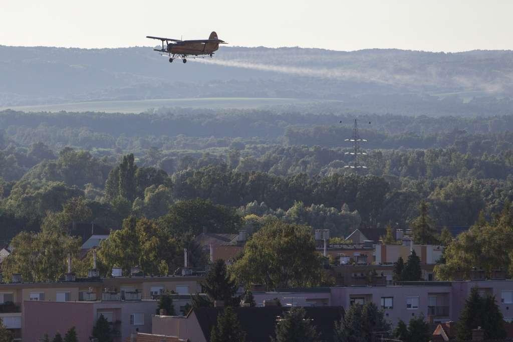 Nagykanizsa, 2016. augusztus 4. Egy repülõgép kémiai szúnyogirtószert permetez Nagykanizsa felett 2016. augusztus 4-én. A központi finanszírozású országos szúnyoggyérítési programban augusztus elseje és hetedike között légi módszerrel hetvenezer hektáron, földi eljárással pedig több mint negyvenötezer hektáron irtják a vérszívókat. MTI Fotó: Varga György